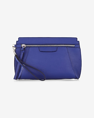 Express Womens Front Zip Wristlet Blue