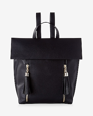 Express Womens Pebbled Tassel Backpack