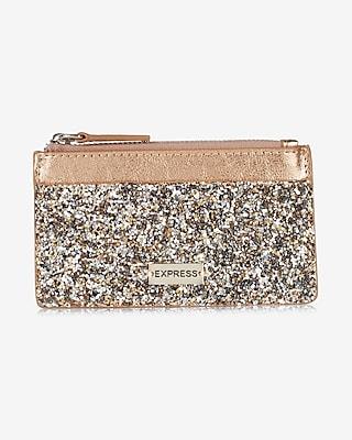 Express Womens Glitter Credit Card Holder Gold