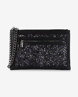 Express Womens Glitter Window Wristlet Black
