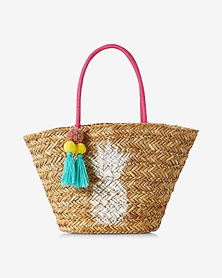 Express Womens Pineapple Straw Tote