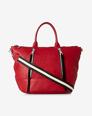Express Womens Double Zip Hobo Bag Red