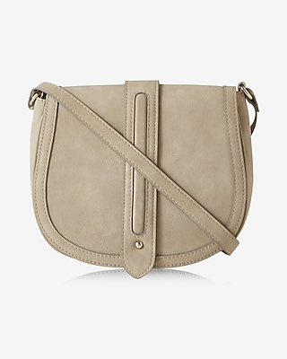 Express Womens Faux Suede Trapunto Stitch Saddle Bag