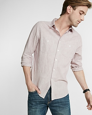 Express Mens Linen-Blend Shirt
