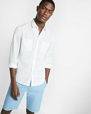 Solid Linen-blend Long Sleeve Shirt