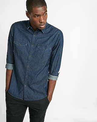 Express Mens New Western Indigo Denim Shirt