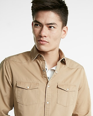 Express Mens Twill Long Sleeve Shirt Brown Medium