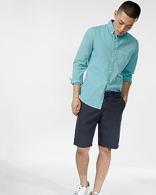 Express Mens Slim Garment Dyed Long Sleeve Cotton Shirt Blue Men's S Blue S