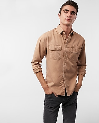 Express Mens Twill Military Shirt