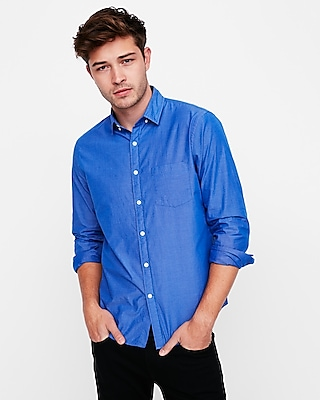 Express Mens Classic Fit Soft Wash Shirt Blue X Small