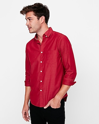 Express Mens Slim Fit Soft Wash Button Down Shirt