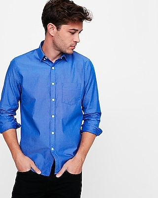 Express Mens Slim Fit Soft Wash Button Down Shirt Blue X Small