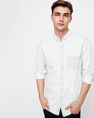 Express Mens Soft Wash Bleached One Pocket Denim Shirt