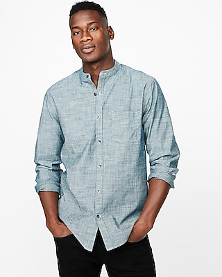 Express Mens Slim Band Collar Chambray Shirt