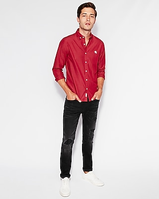Express Mens Slim Soft Wash Lion Logo Shirt
