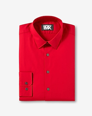 Express Mens Modern Fit Easy Care 1Mx Shirt Red Small