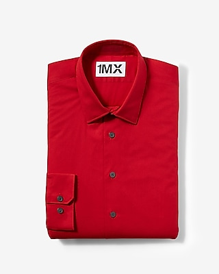 Express Mens Slim Fit Easy Care 1Mx Shirt Red Small