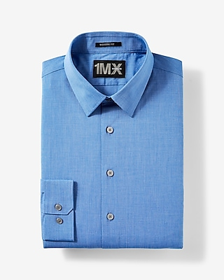 Express Mens Modern Fit Easy Care Textured 1Mx Shirt Blue X Small