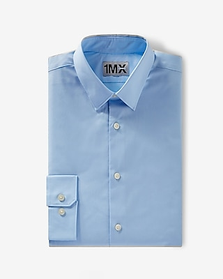 Express Mens Fitted Easy Care 1Mx Shirt Blue Small