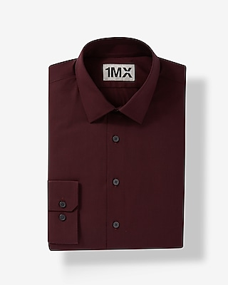 Express Mens Fitted Easy Care Textured 1Mx Shirt Red X Small