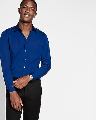 Express Mens Fitted Easy Care Textured 1Mx Shirt Blue Small