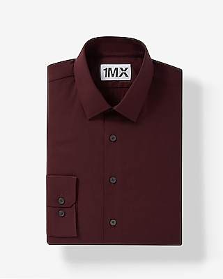 Express Mens Slim Fit Easy Care Textured 1Mx Shirt Red X Small