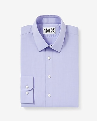 Express Mens Slim Fit Easy Care Textured 1Mx Shirt Purple Small