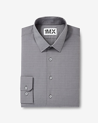 Express Mens Slim Fit Easy Care Textured 1Mx Shirt Gray Small