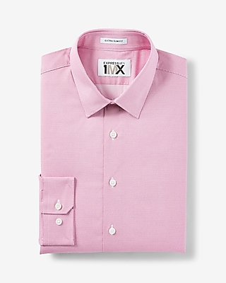 Express Mens Extra Slim Fit Easy Care Micro Dot 1Mx Dress Shirt