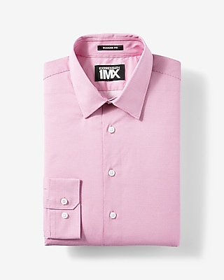 Express Mens Classic Fit Easy Care Micro Dot Print 1Mx Dress Shirt