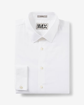 Express Mens Fitted French Cuff 1Mx Shirt White X Small