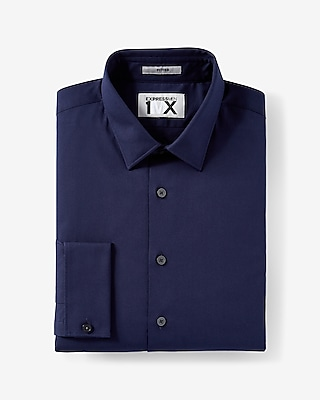 Express Mens Fitted French Cuff 1Mx Shirt Blue X Small