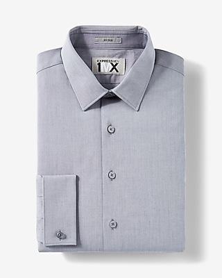 Express Mens Fitted Express Tech Iridescent French Cuff 1Mx Shirt