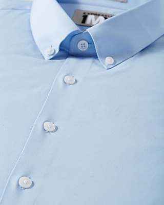 Express Mens Fitted Button Down Collar 1Mx Shirt Blue X Small