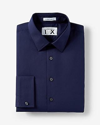 Express Mens Slim Fit Express Tech French Cuff 1Mx Shirt Blue X Small