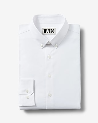 Express Mens Slim Fit Button Down Collar 1Mx Shirt White Large