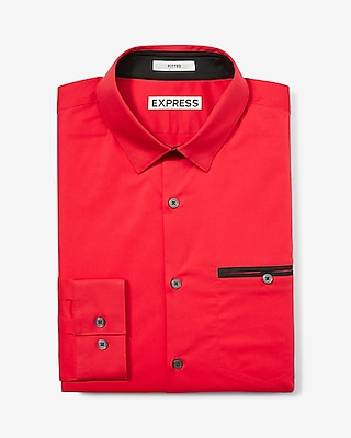 Express Mens Fitted Piped 1Mx Dress Shirt Red Large