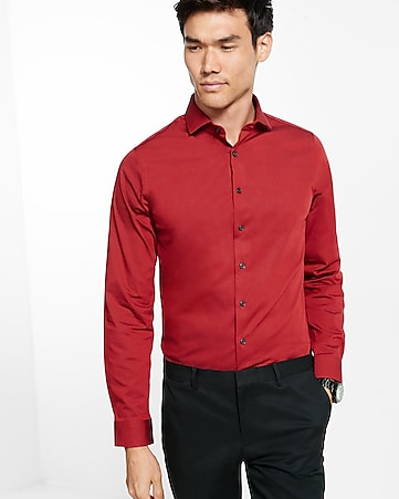 slim micro print dress shirt