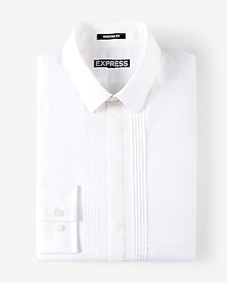 Express Mens Classic Fit Pleated Tuxedo Dress Shirt