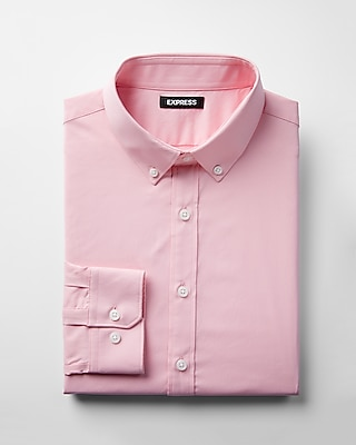 Express Mens Slim Solid Performance Dress Shirt Pink Small 12699346