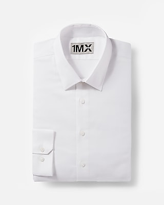 Express Mens Fitted Diamond Textured 1Mx Shirt White Small