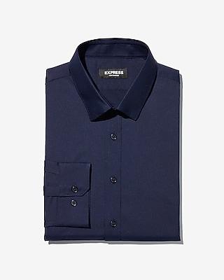 Express Mens Slim Solid Wrinkle-Resistant Performance Dress Shirt Blue Men's Xl Blue Xl