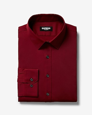 Express Mens Extra Slim Solid Wrinkle-Resistant Performance Dress Shirt Red Men's M Red M