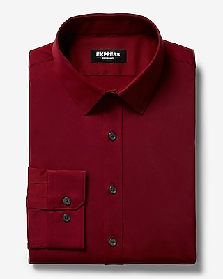 Express Mens Classic Solid Wrinkle-Resistant Performance Dress Shirt Red Men's Xs Red Xs