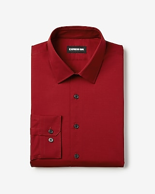 Express Mens Slim Solid Stretch Shirt Red Men's Xs Red XS