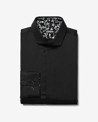 Express Mens Slim Sateen Patterned Cuff Dress Shirt