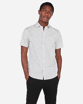 Express Mens Slim Floral Pattern Short Sleeve Shirt