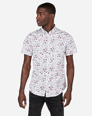 Express Mens Slim Floral Button-Down Shirt