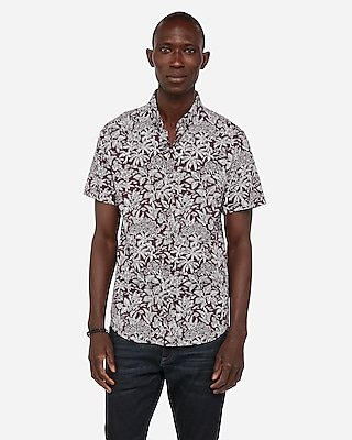 Express Mens Big & Tall Slim Leaf Print Wrinkle-Resistant Performance Short Sleeve Shirt Purple Men's Xxl Purple Xxl