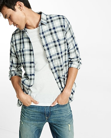 flannel small check shirt